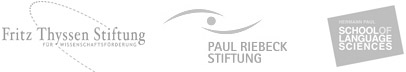 Logos: Fritz Thissen Stiftung, Paul Riebeck Stiftung, Hermann Paul School of Language sciences